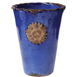 Rustic Garden Terrace Cobalt Vase with Flower
